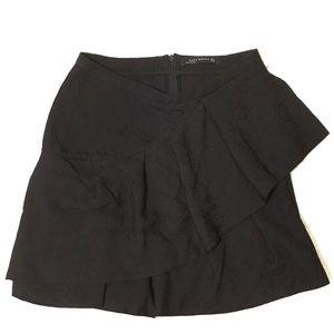 Zara Women Black Skirt w/Front Ruffle Size 5